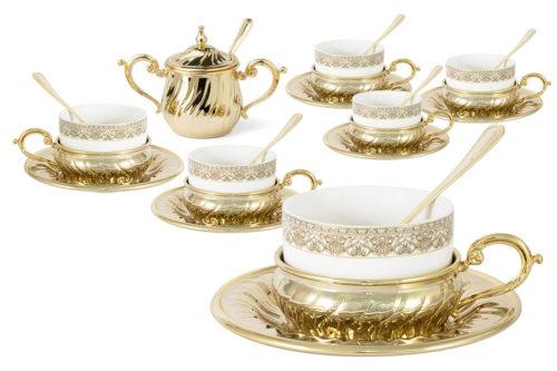 Чайный набор на 6 персон Stradivari с отделкой под золото в подароч.коробке