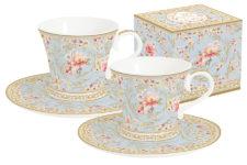 Набор: 2 чашки + 2 блюдца для кофе (голубой) Majestic в подар.упаковке