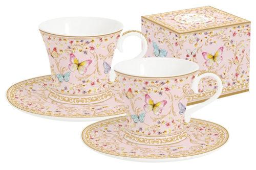 Набор: 2 чашки + 2 блюдца для кофе (розовые) Majestic в подар.упаковке