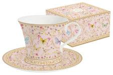 Чашка с блюдцем (розовая) Majestic в подар.упаковке