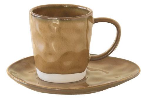 Чашка с блюдцем (коричневый) Interiors без инд.упаковки