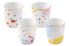 Набор из 4-х кофейных чашек Брызги красок в подарочной упаковке