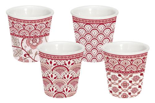 Набор из 4-х кофейных чашек (красный) Муссон в подарочной упаковке