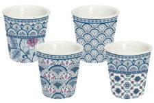 Набор из 4-х кофейных чашек (синий) Муссон в подарочной упаковке