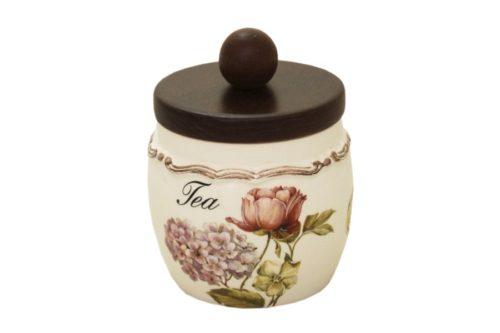 Банка для сыпучих продуктов с деревянной крышкой(чай) Сады Флоренции