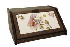 Деревянная хлебница с керамическими вставками Сады Флоренции