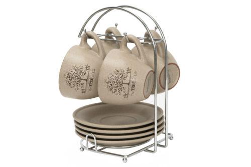 Набор: 4 чашки + 4 блюдца на металлической подставке Дерево жизни