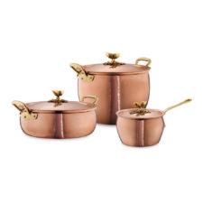 Набор посуды из 3-х предметов, медь, олово, с бронзовой декорированной ручкой, серия Historia decor, HISTORIA-3, RUFFONI, Италия