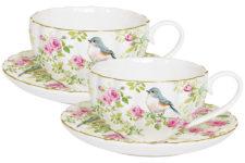 Набор: 2 чашки + 2 блюдца для кофе Птицы в саду в подарочной упаковке