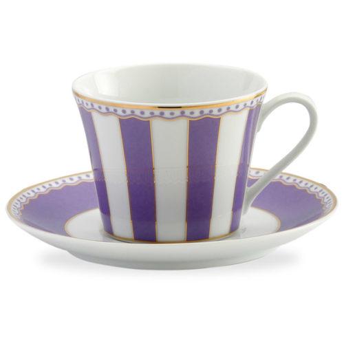 """Чашка чайная с блюдцем Noritake """"Карнавал"""" 240мл (лавандовая полоска), п/к"""