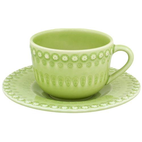 "Чашка чайная с блюдцем Bordallo Pinheiro ""Фантазия"" 350мл (светло-зеленая)"