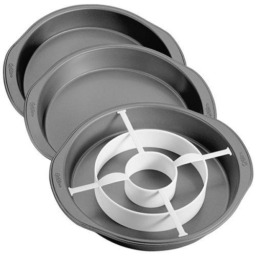 Набор 3 круглые формы для многослойной выпечки Wilton 22,8 х3,8см ,1  разделит. кольцо, пластик