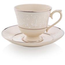 """Чашка чайно-кофейная с блюдцем Lenox """"Чистый жемчуг"""" 180мл"""