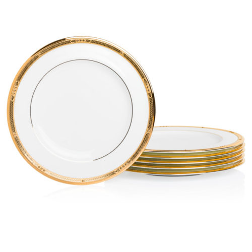 "Набор тарелок закусочных Noritake ""Чатлайн, золотой кант"" 22см, 6 шт"