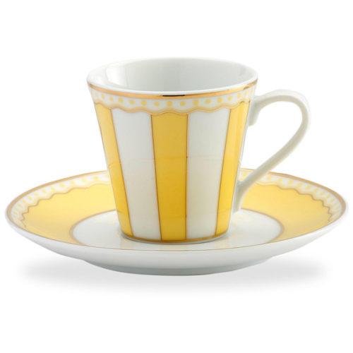 """Чашка кофейная с блюдцем Noritake """"Карнавал"""" 90мл (жёлтая полоска), п/к"""