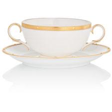 """Чашка суповая с блюдцем Noritake """"Рочель,золотой кант"""" 210мл"""