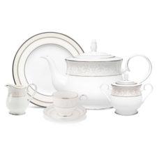 """Сервиз чайный Noritake """"Монтвейл, платиновый кант"""" 15 предметов на 4 персоны"""