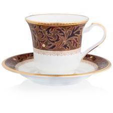 """Чашка чайная с блюдцем Noritake """"Ксавьер,золотой кант"""" 200мл"""
