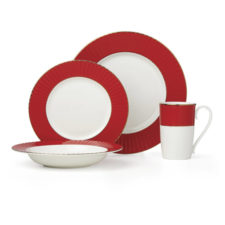 """Сервиз чайно-столовый Lenox """"Цветное плиссе"""" 16 предметов на 4 персоны (красный)"""