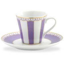 """Чашка кофейная с блюдцем Noritake """"Карнавал"""" 90мл (лавандовая полоска), п/к"""