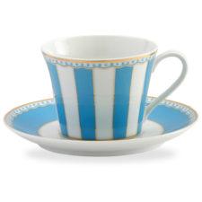"""Чашка чайная с блюдцем Noritake """"Карнавал"""" 240мл (голубая полоска), п/к"""
