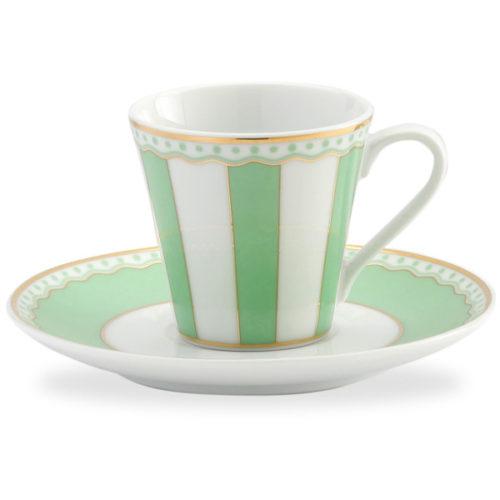 """Чашка кофейная с блюдцем Noritake """"Карнавал"""" 90мл (зелёная полоска), п/к"""