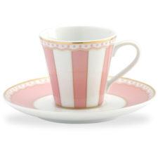 """Чашка кофейная с блюдцем Noritake """"Карнавал"""" 90мл (розовая полоска), п/к"""