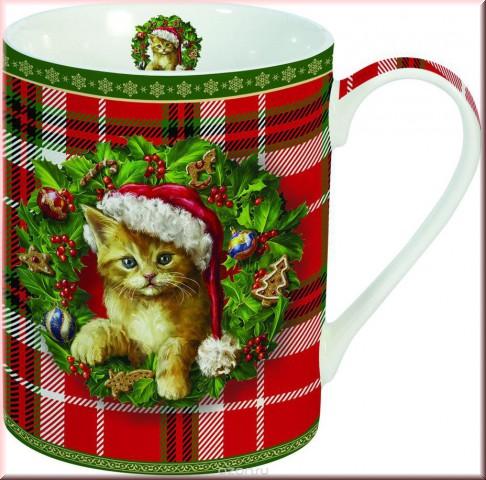 Кружка Новогодний котенок 300 мл фарфор Easy Life