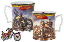 Кружка с брелоком Мотоцикл Харлей - Дэвидсон Спортстер 883, девушка, фарфор Carmani