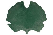 Блюдо-листок (гинкго) сервировочное (зелёный) Мадагаскар в подарочной упаковке