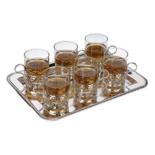 Набор стаканов с подстаканниками на подносе Queen Anne, 6шт, сталь, стекло, посеребрение