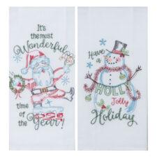"""Полотенце кухонное Kay Dee Designs """"Рождественская история"""" 46х66см, хлопок, ( Снеговик), набор 2 шт"""