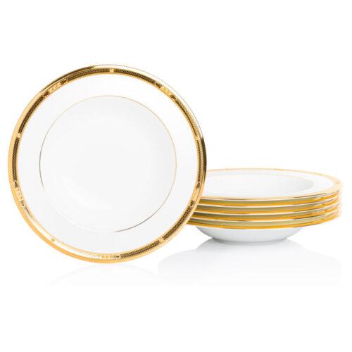 "Набор тарелок суповых Noritake ""Чатлайн, золотой кант"" 28см, 6 шт"