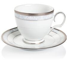 """Чашка чайная с блюдцем Noritake """"Хэмпшир,платиновый кант"""" 250мл"""