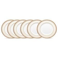 """Набор из 6 тарелок закусочных Noritake """"Трефолио,золотой кант"""" 22см"""