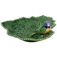 """Блюдо Bordallo Pinheiro """"Листья"""" 19см, с синей птичкой"""