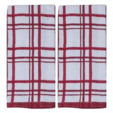 """Набор из 2х полотенец кухонных Kay Dee Designs """"Клетка"""" 40*66см, красные, хлопок"""