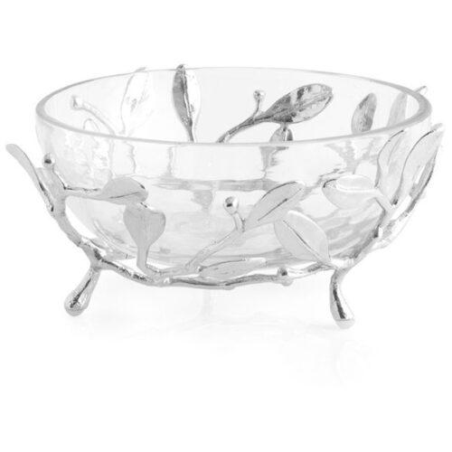 Чаша на подставке Michael Aram Лавровый лист 16см, стекло