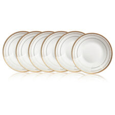 "Набор из 6 тарелок суповых Noritake ""Хэмпшир, золотой кант"" 23см"