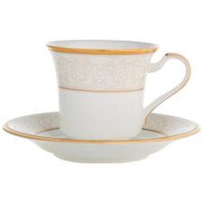 """Чашка чайная с блюдцем Noritake """"Белый дворец"""" 200мл"""
