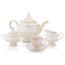 """Сервиз чайный  Lenox """"Чистый жемчуг"""" на 6 персон 15 предметов"""