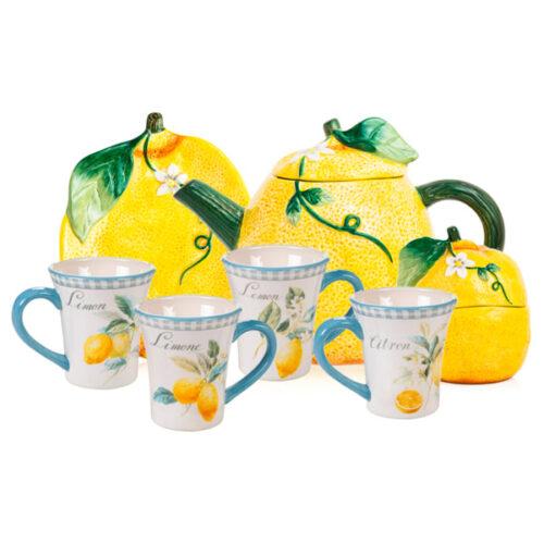 """Сервиз чайный Certified Int. """"Лимоны"""" на 4 персоны 7 предметов"""