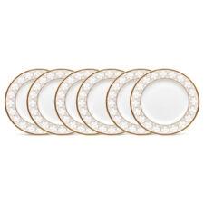 """Набор из 6 тарелок десертных Noritake """"Трефолио,золотой кант"""" 16,5см"""