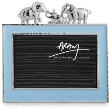 """Рамка для фото Michael Aram """"Слоники"""" 10х15см (голубая эмаль)"""
