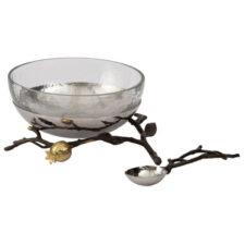 Набор чаша стеклянная на подставке с ложкой Michael Aram Гранат 19см, сталь нержавеющая (2пр)