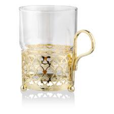 """Стакан с подстаканником Queen Anne """"Античный"""", золотой цвет, стекло, сталь"""