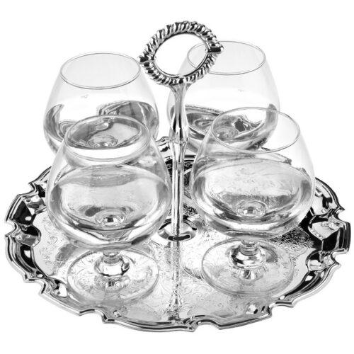Набор бокалов для коньяка на подносе Queen Anne, 4шт, сталь, стекло, посеребрение