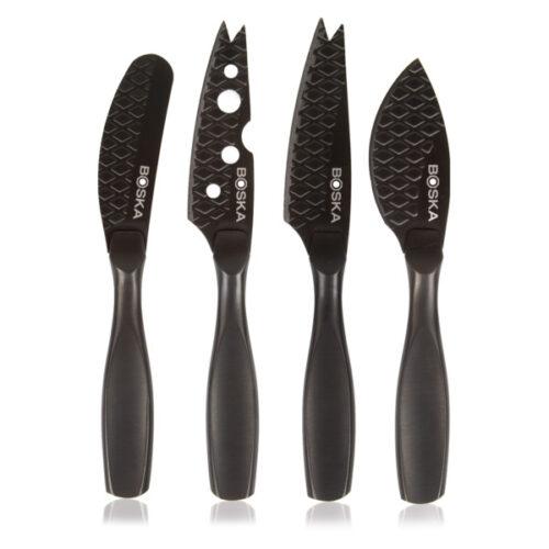 """Набор мини-ножей для всех видов сыра Boska """"Монако+"""" 19х19см, 4шт, сталь, (чёрный), п/у"""