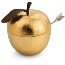 """Банка для меда Michael Aram """"Золотое яблоко"""" 11см (золотистая)"""