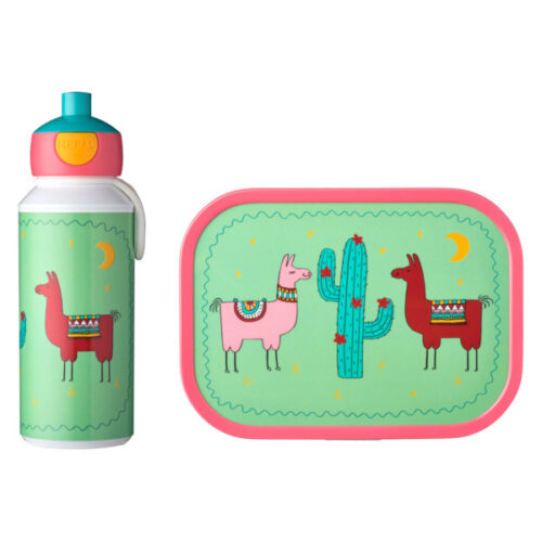 Набор детский ланч-бокс и бутылка для воды Mepal 400мл+750мл (лама)